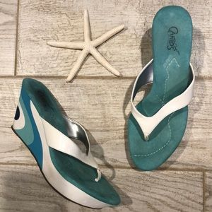 Carlos Santana Thong Sandals with Blue Wave Wedge
